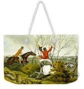 Plunging Through The Hedge From Qualified Horses And Unqualified Riders Weekender Tote Bag by Henry Thomas Alken