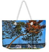 Plymouth Harbor In Autumn Weekender Tote Bag