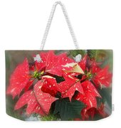 Poinsettia In Red And White Weekender Tote Bag