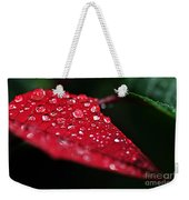 Poinsettia Leaf With Water Droplets Weekender Tote Bag
