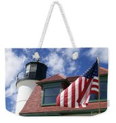 Point Betsie Lighthouse With Flag Weekender Tote Bag