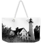 Point Iroquois Lighthouse In B/w Weekender Tote Bag
