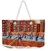 Pointe St. Charles Hockey Rink Southwest Montreal Winter City Scenes Paintings Weekender Tote Bag