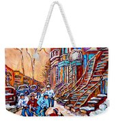 Pointe St.charles Hockey Game Near Winding Staircases Montreal Winter City Scenes Weekender Tote Bag