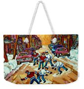 Pointe St.charles Hockey Game Winter Street Scenes Paintings Weekender Tote Bag