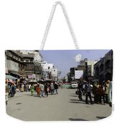 Police Vehicle And Barricades In Front Of Golden Temple In Amritsar Weekender Tote Bag