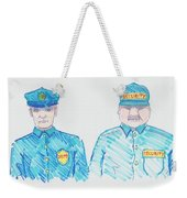 policeman security guard cartoon weekender tote bag for sale by mike