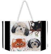 Polka Dot Family Pets With Borders - Whimsical Art Weekender Tote Bag