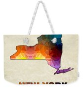 Polygon Mosaic Parchment Map New York Weekender Tote Bag