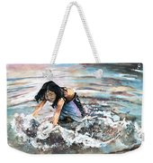 Polynesian Child Playing With Water Weekender Tote Bag