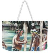 Polynesian Men With Spears Weekender Tote Bag