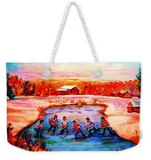 Pond Hockey Game By Montreal Hockey Artist Carole Spandau Weekender Tote Bag