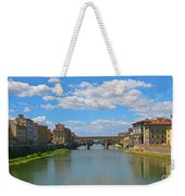 Ponte Vecchio Over The Arno River At Florence Italy Weekender Tote Bag