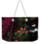 Poppies Growing Amongst Farm Machinery In A Farmyard Near Pocklington Yorkshire Wolds East Yorkshire Weekender Tote Bag