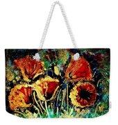 Poppies In Gold Weekender Tote Bag by Zaira Dzhaubaeva