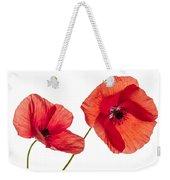 Poppy Flowers On White Weekender Tote Bag by Elena Elisseeva