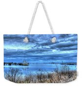 Poquoson Yacht On Stormy Morning Weekender Tote Bag