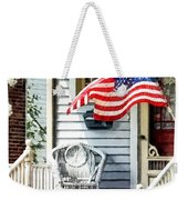 Porch With Flag And Wicker Chair Weekender Tote Bag