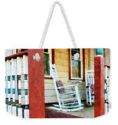 Porch With Red White And Blue Railing Weekender Tote Bag