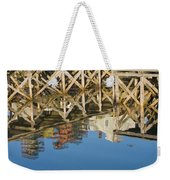 Port Clyde Maine Lobster Traps Reflecting In Water Weekender Tote Bag