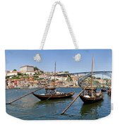 Port Wine Boats In Porto City Weekender Tote Bag