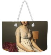 Portait Of A Young Woman In White Weekender Tote Bag