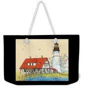Portland Head Lighthouse Me Nautical Chart Map Art Weekender Tote Bag