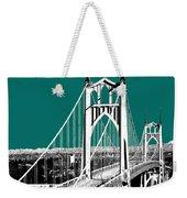 Portland Skyline St. Johns Bridge - Sea Green Weekender Tote Bag