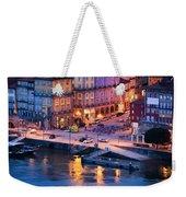 Porto Old Town In Portugal At Dusk Weekender Tote Bag