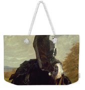 Portrait Of A Lady In Black With A Dog Weekender Tote Bag