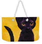 portrait of a small black cat named  LuLu Weekender Tote Bag