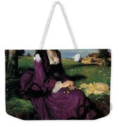 Portrait Of A Woman In Lilac Weekender Tote Bag