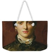 Portrait Of A Woman With Dark Hair Weekender Tote Bag