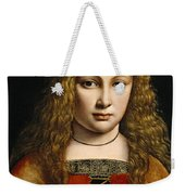 Portrait Of A Youth Crowned With Flowers Weekender Tote Bag by Giovanni Antonio Boltraffio