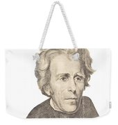 Portrait Of Andrew Jackson On White Background Weekender Tote Bag