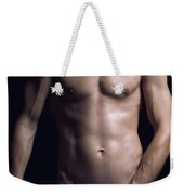 Portrait Of Man With Fit Naked Body Weekender Tote Bag