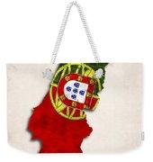 Portugal Map Art With Flag Design Weekender Tote Bag