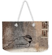 Postcard Chickadee In The Snow Weekender Tote Bag