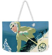 Poster Advertising Skiing Holidays In The Province Of Quebec Weekender Tote Bag