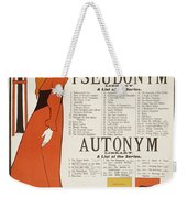 Poster For 'the Pseudonym And Autonym Libraries' Weekender Tote Bag