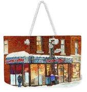 Poutine Lafleur Rue Wellington Verdun Art Montreal Paintings Cold Winter Walk City Shops Cspandau   Weekender Tote Bag