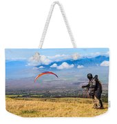 Preparing For Take Off - Paragliders Taking Off High Over Maui. Weekender Tote Bag