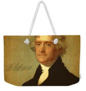 President Thomas Jefferson Portrait And Signature Weekender Tote Bag