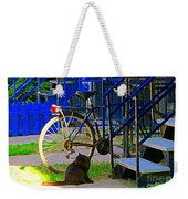 Pretty Cat In Verdun Taking The Sun Blue Picket Fence And Bike Montreal Garden Scene Carole Spandau  Weekender Tote Bag