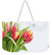 Pretty Red And Yellow Tulips On White Background Weekender Tote Bag