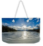Price Lake Frozen Over During Winter Months In North Carolina Weekender Tote Bag
