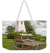 Prince Edward Island Lighthouse With Lobster Traps Weekender Tote Bag by Edward Fielding