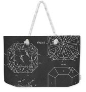 Princess Cut Diamond Patent Gray Weekender Tote Bag