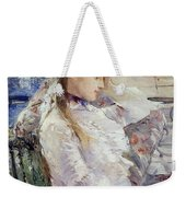 Profile Of A Seated Young Woman Weekender Tote Bag