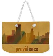 Providence Rhode Island City Skyline Watercolor On Parchment Weekender Tote Bag